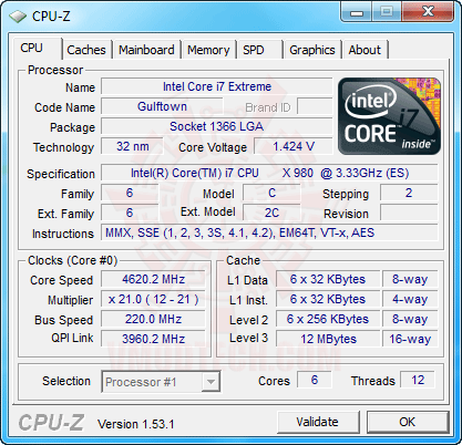 c1 Intel® Core™ i7 980X Extreme Edition Gulftown OC Report