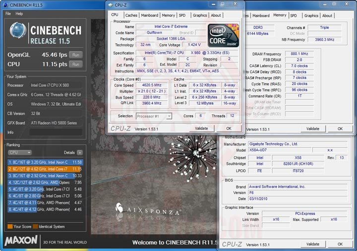 cb111 Intel® Core™ i7 980X Extreme Edition Gulftown OC Report