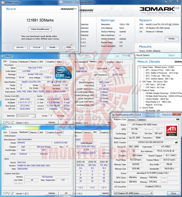 03 212 Intel DP55KG EXTREME BOARD : Overclock Results