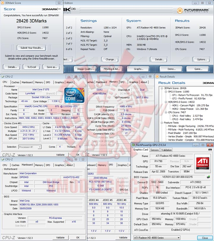 06 212 Intel DP55KG EXTREME BOARD : Overclock Results