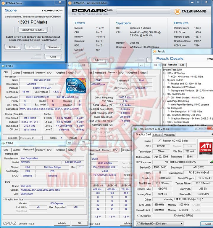 pcm05 212 Intel DP55KG EXTREME BOARD : Overclock Results