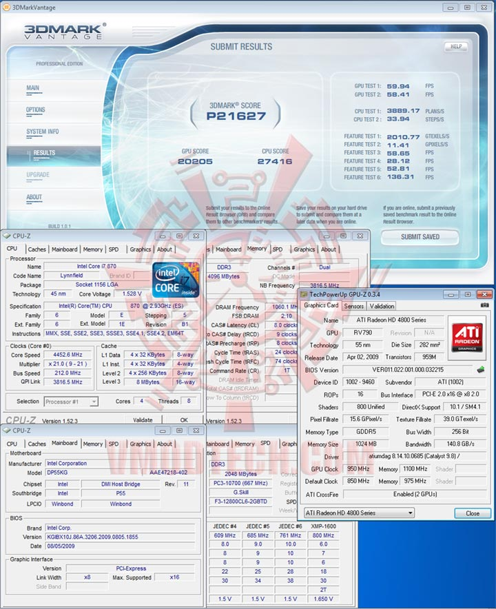 van 212 Intel DP55KG EXTREME BOARD : Overclock Results