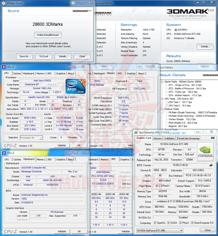 03 237 Intel® Xeon® Processor E5620 Overclock Results