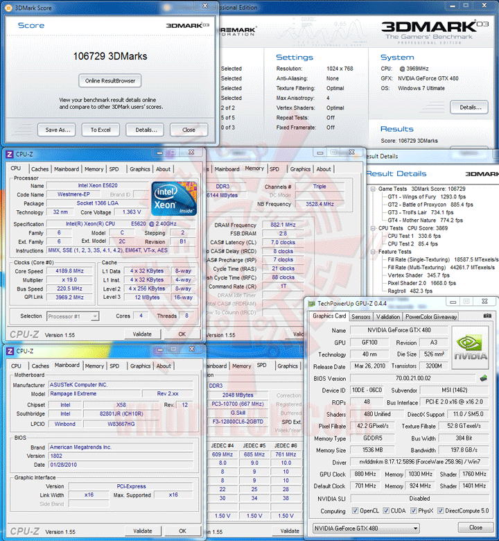 03 Intel® Xeon® Processor E5620 Overclock Results
