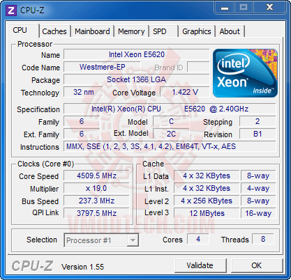 c1 237 Intel® Xeon® Processor E5620 Overclock Results