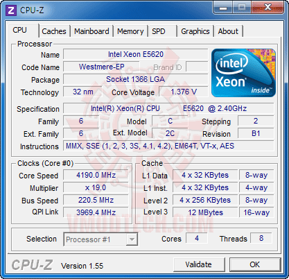c1 Intel® Xeon® Processor E5620 Overclock Results
