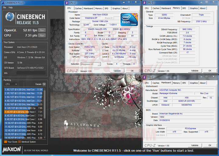 c115 1 237 Intel® Xeon® Processor E5620 Overclock Results