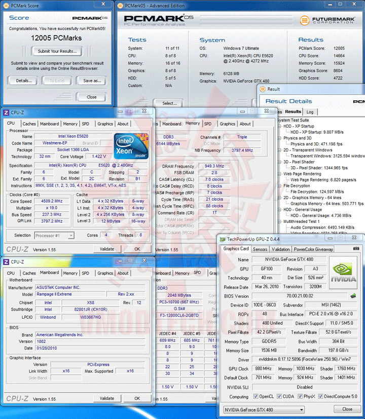 pcm05 237 Intel® Xeon® Processor E5620 Overclock Results