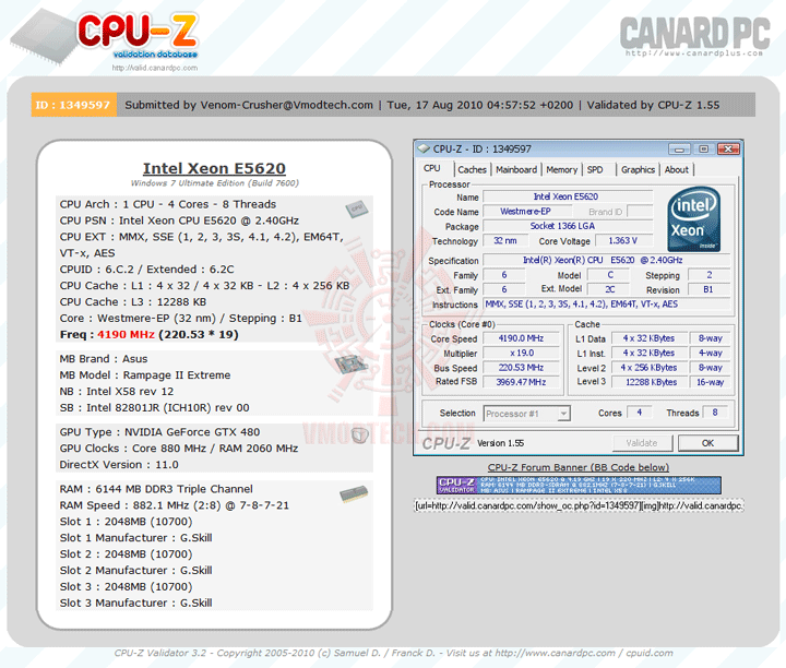 vali4190 Intel® Xeon® Processor E5620 Overclock Results