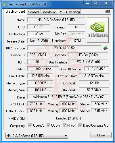 gz a1 NVIDIA GeForce GTS 450 1024MB GDDR5 SLI Review