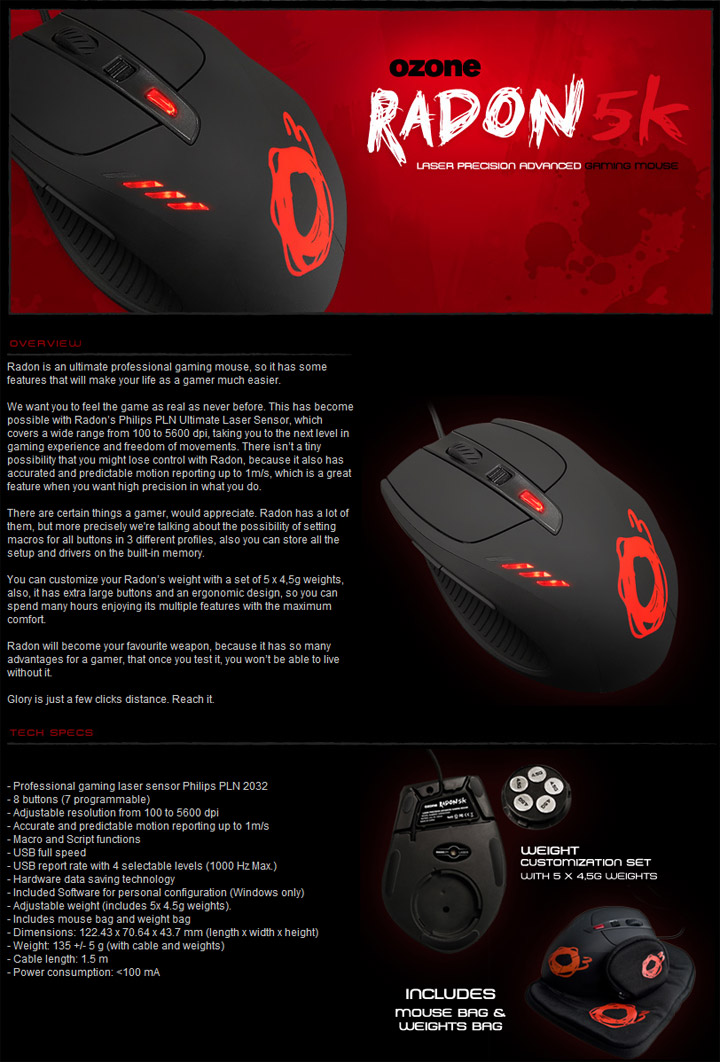 5kspec OZONE RADON 5K Laser Gaming Mouse & OZONE EXPOSURE Mousepad Review