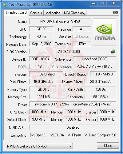 gz ov Palit GeForce GTS 450 Sonic Platinum 1 GB GDDR5 Review