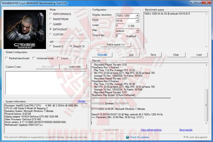 wh oc PALIT GeForce GTX 460 SONIC 1024MB GDDR5 Review