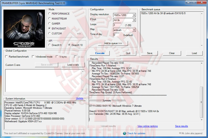 wh ov PALIT GeForce GTX 460 SONIC 1024MB GDDR5 Review