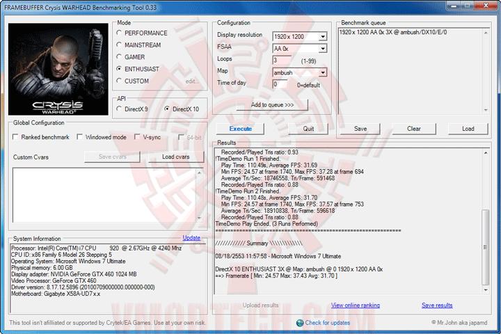 wh oc Palit GeForce GTX 460 Sonic Platinum 1 GB GDDR5 Review