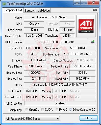 gpuz oc PowerColor HD 5870 1GB DDR5 Review