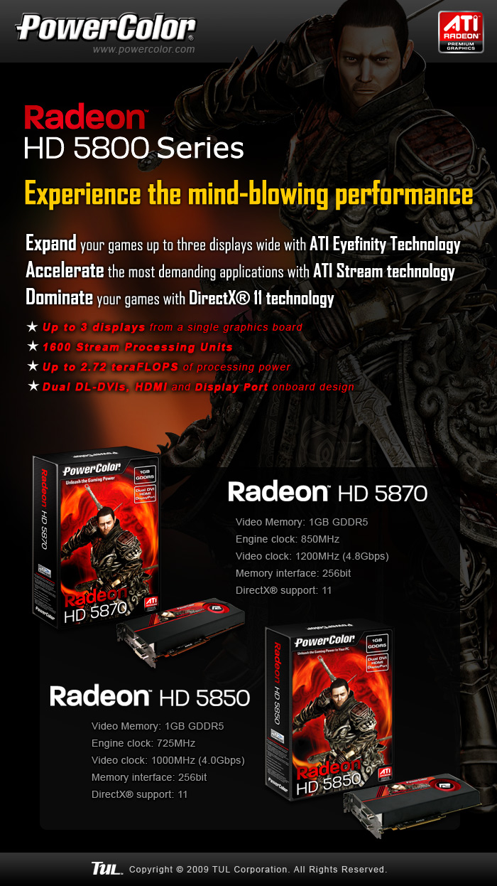 eflyer 5800 Powercolor เอาใจสาวกเปิดตัวกราฟฟิกการ์ดรุ่นใหม่ Powercolor Radeon HD 5800