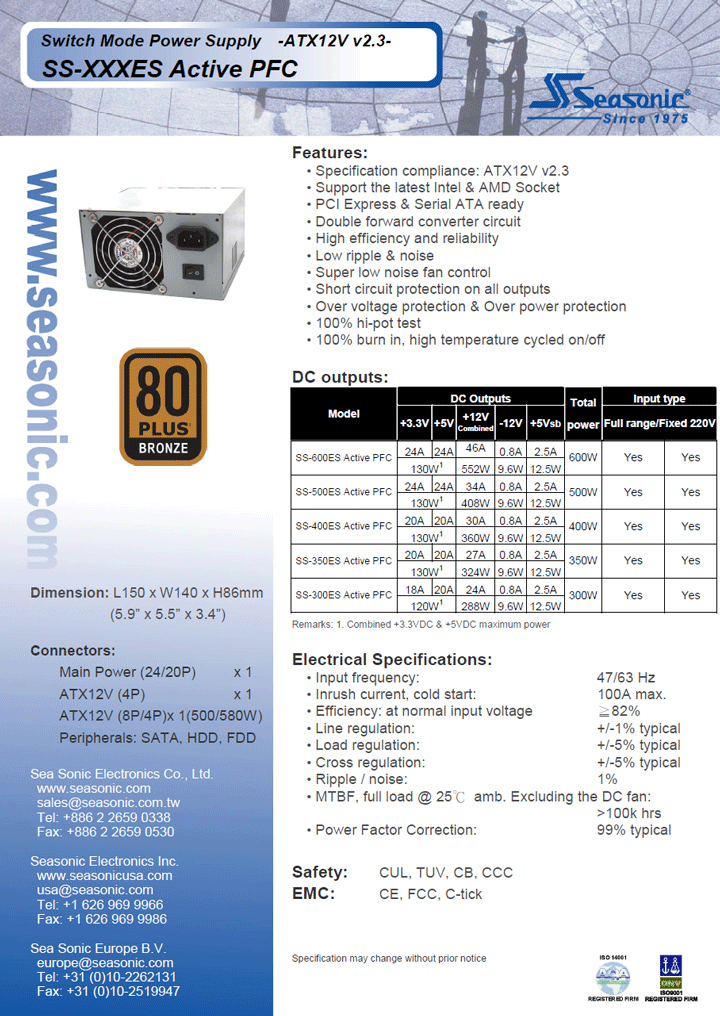 spec SEASONIC SS 400ES 400W 80Plus Bronze Review