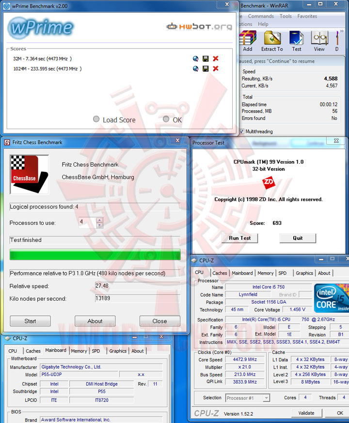 vtest1 Intel Core i5 750 GIGABYTE P55 UD3P overclocking test