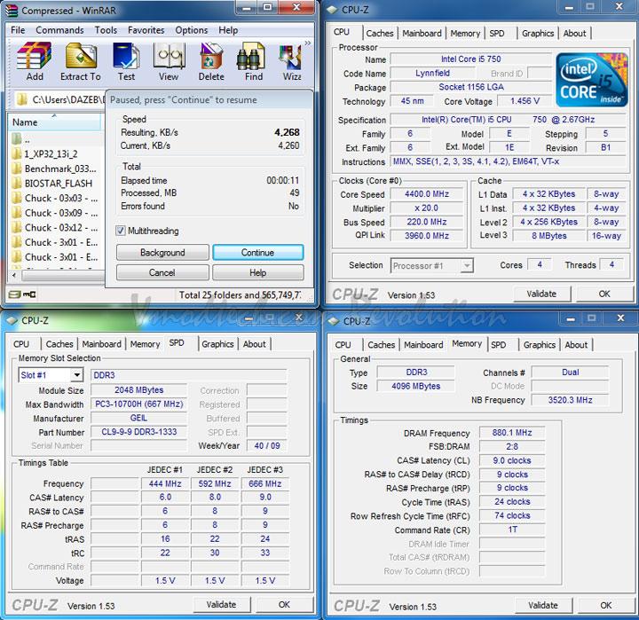 winrar 1760 GeiL DDR3 10660 CL9 Pristine Series