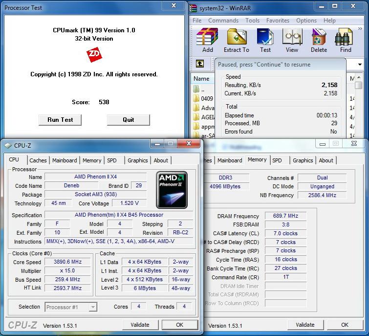 winrar6 AMD  Phenom II 545 @ 4 Cores !!!