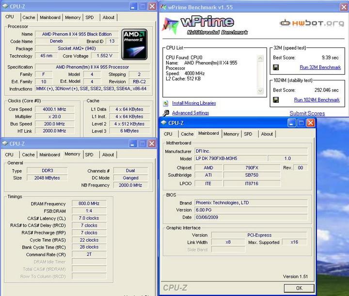 wprime Phenom II955 VS  DFI DK 790 FXB M3H5