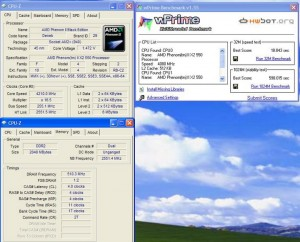 wprime032 300x242 E 7400 VS Phenom II X2 550