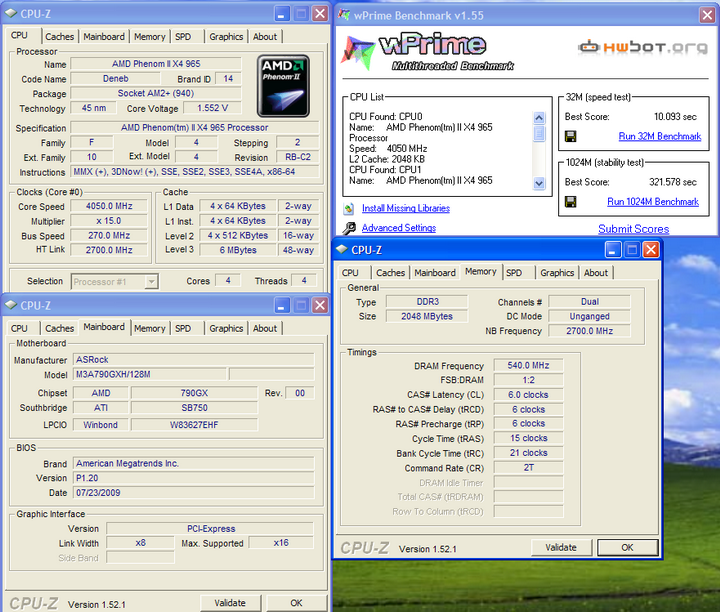 wprime1 Phenom II X4 965BE @ 4 G อีกแล้ว