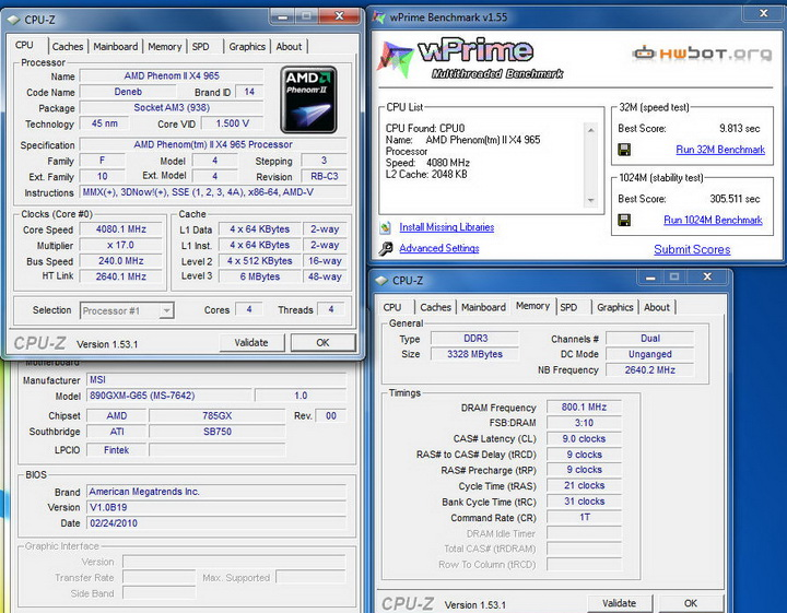 wprime10 MSI 890GXM G65 Review