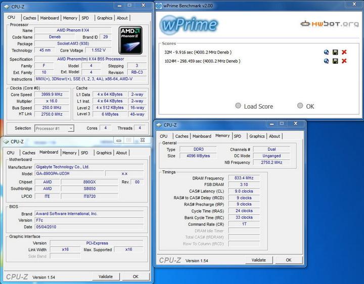 wprime12 Gigabyte 890GPA UD3H  Unlock Core