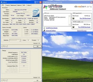wprime3 300x264 E 7400 VS Phenom II X2 550