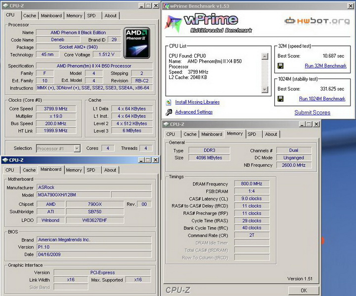 wprimer Phenom II X2 550BE VS Asrock M3A790GXH/128M 4 Core Test..